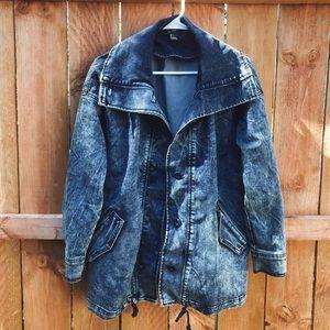 90's style oversized acid wash denim jacket